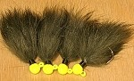 Custom rabbit jig / hot yellow & dark olive